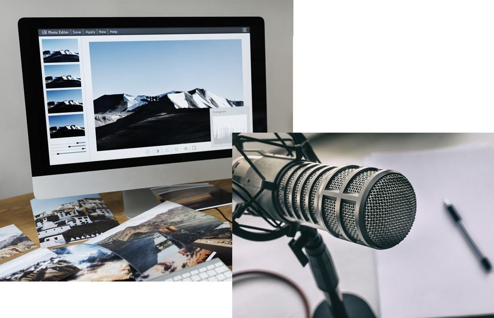 静止画像の編集効果とナレーション挿入の効果