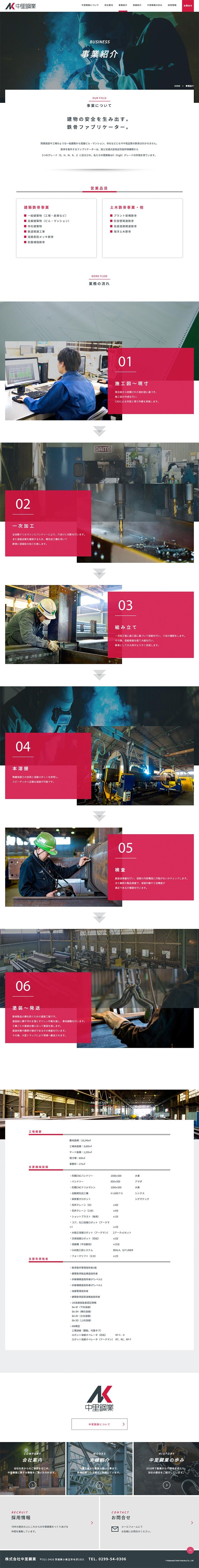株式会社中里鋼業様・Webサイト