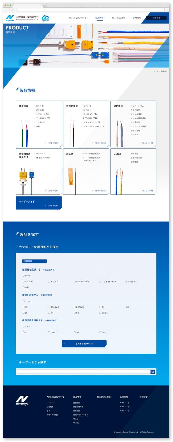 二宮電線工業株式会社様・Webサイト